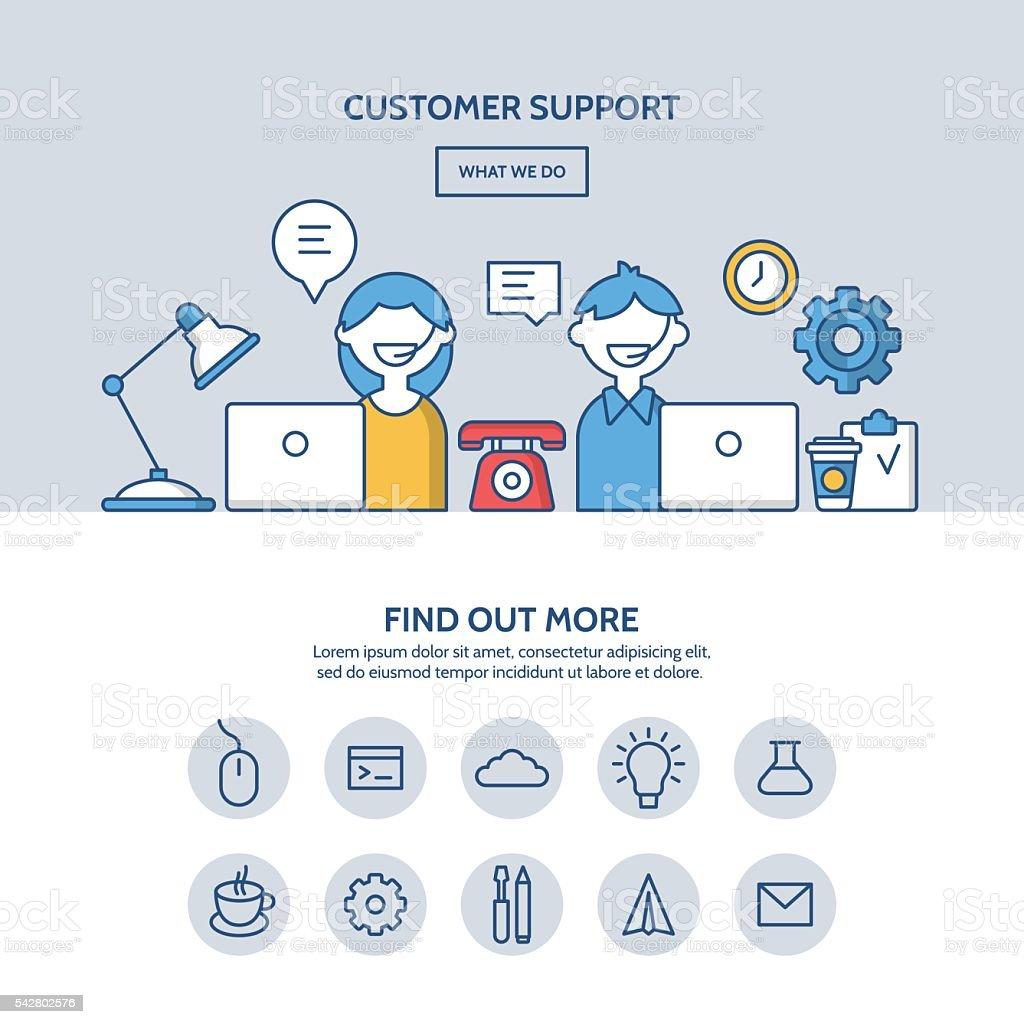 Customer support website hero image concept. One page website design vector art illustration