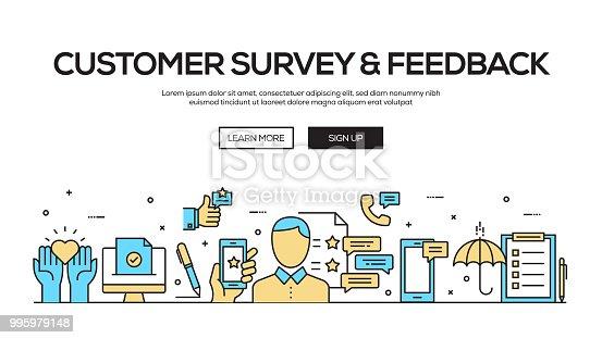 Customer Survey and Feedback Flat Line Web Banner Design