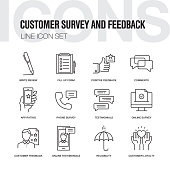 Customer Survey and Feedback Line Icons Set