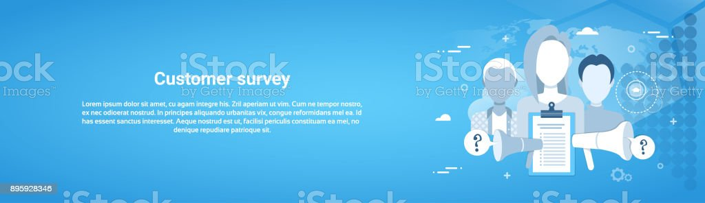 Customer Survey Web Horizontal Banner With Copy Space vector art illustration