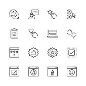 Customer testimonials icon set in thin line style