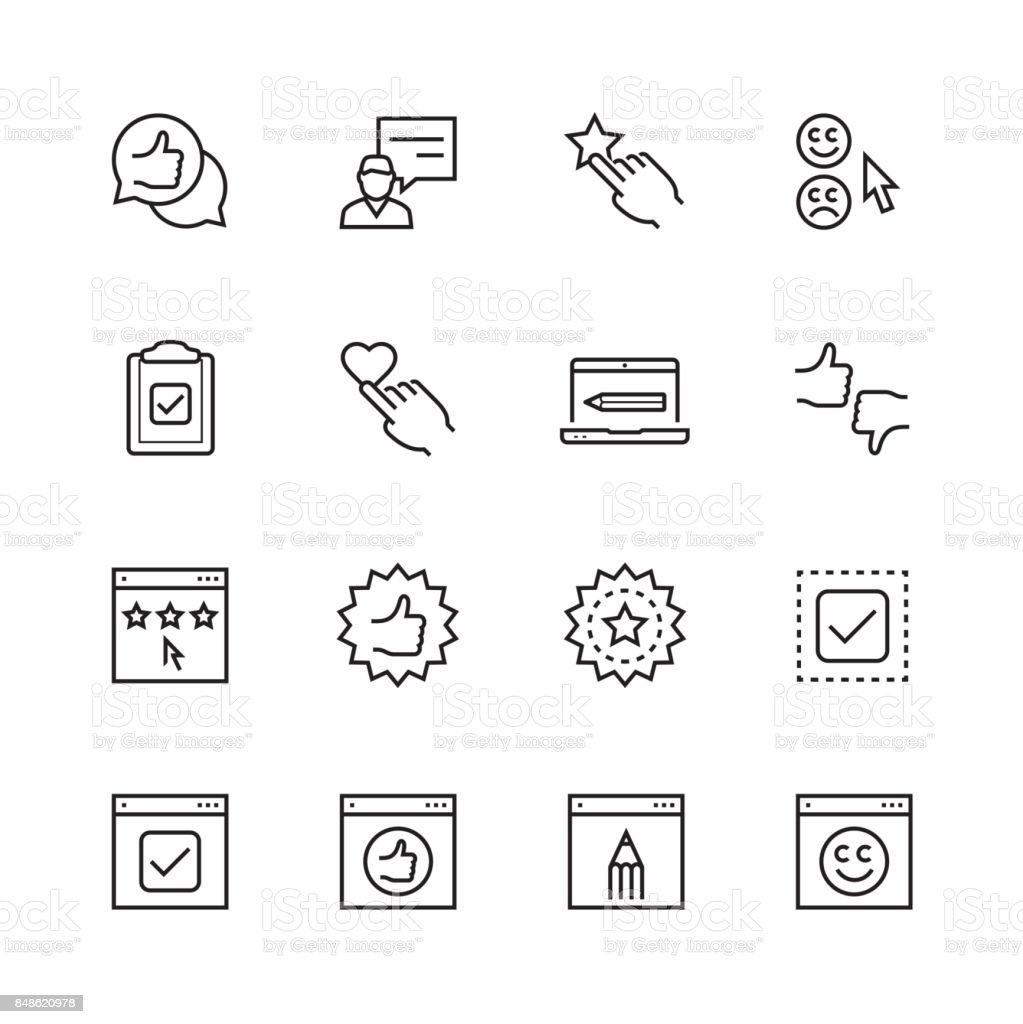 Customer testimonials icon set in thin line style vector art illustration