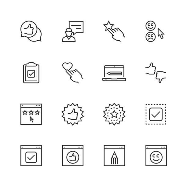 Customer testimonials icon set in thin line style Customer testimonials icon set in thin line style choosing stock illustrations