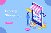 Customer buying in online grocery store.Can use for web banner, infographics, hero images. Flat isometric vector illustration isolated on white background.