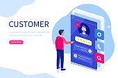 Custromer srvice feedback concept. Can use for web banner, infographics, hero images. Flat isometric modern  vector illustration.