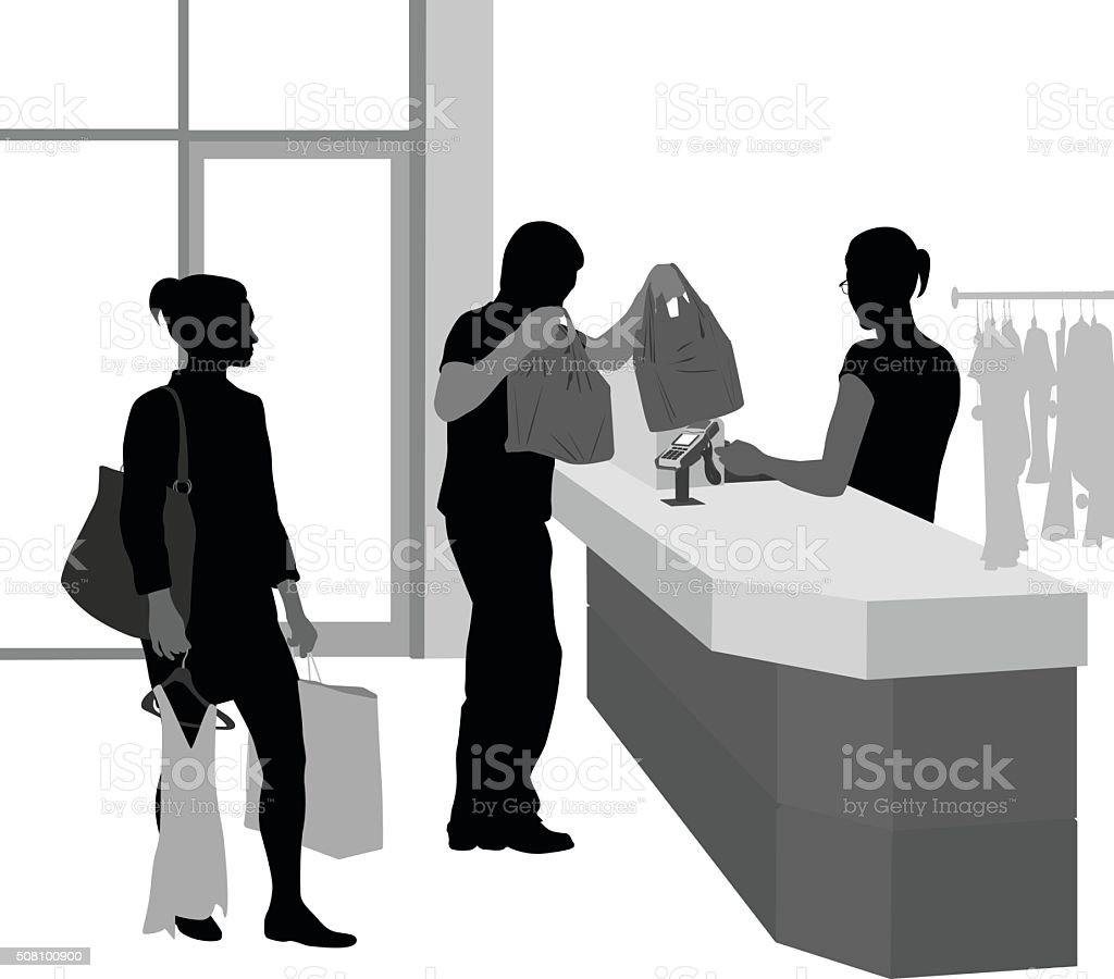 Customer Waiting To Pay For Clothes vector art illustration