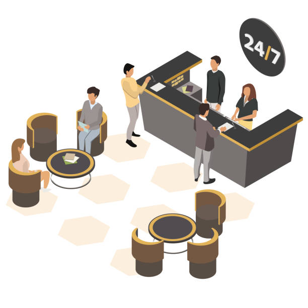 customers at the reception. receptionist at the counter welcoming. reception service hotel desk. customers are waiting in the armchairs at the coffee table. isometric vector illustration, 3d. - hotel reception stock illustrations