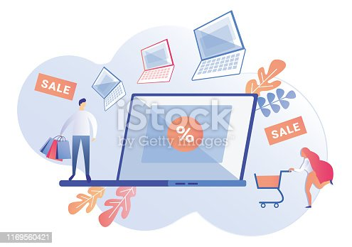 Laptops in Sale with Deep Discounts in Computer Store. Man Customer with Colored Shopping Paper Bags. Woman Customer, Doing Shopping Online, Rushing to Sale, to Buy Notebook, Pushing Shopping Cart.