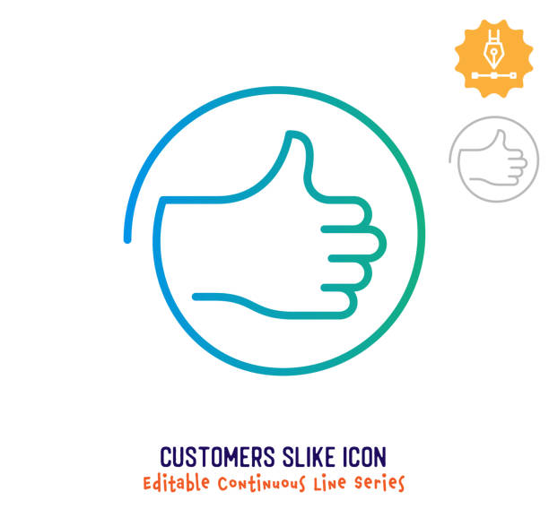 Customers Like Continuous Line Editable Stroke Line Customers like vector icon illustration for logo, emblem or symbol use. Part of continuous one line minimalistic drawing series. Design elements with editable gradient stroke line. infamous stock illustrations
