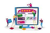 Customers Online Review, Ranking and Rating Concept. Tiny Characters Put Huge Golden Stars on Pc Screen with Clients Feedback Page Evaluate Service Technologies. Cartoon People Vector Illustration