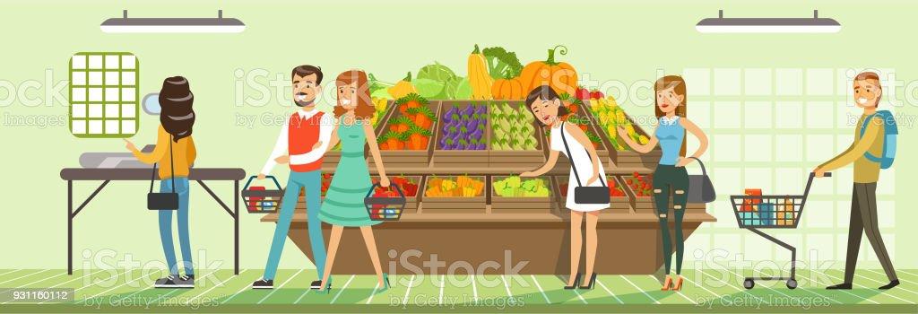 Kunden Menschen Bying Produkte im Supermarkt, Regalen mit frischem Gemüse, Supermarkt Innenarchitektur horizontale Vektor-Illustration – Vektorgrafik