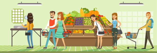 illustrazioni stock, clip art, cartoni animati e icone di tendenza di customers people bying products in supermarket, store shelves with fresh vegetables, supermarket interior design horizontal vector illustration - mercato frutta donna