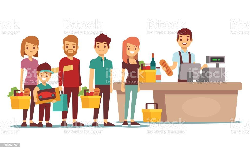 お客様のスーパー マーケットでレジでレジでキューを人々 します。ベクトルの概念をショッピング ベクターアートイラスト