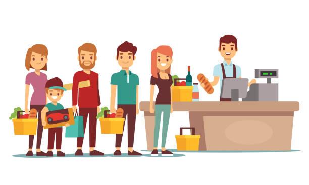 お客様のスーパー マーケットでレジでレジでキューを人々 します。ベクトルの概念をショッピング - 小売販売員点のイラスト素材/クリップアート素材/マンガ素材/アイコン素材