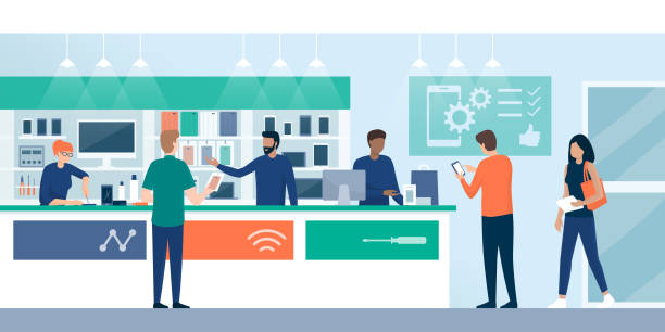customers shopping in a phone repair store - sprzedawać stock illustrations