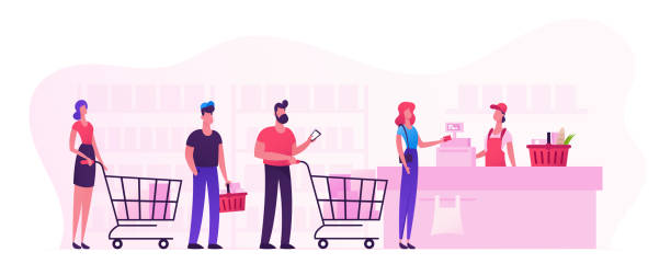 ilustrações de stock, clip art, desenhos animados e ícones de customers stand in line at grocery or supermarket turn with goods in shopping trolley put buys on cashier desk for paying. purchases, sale consumerism, queue in store cartoon flat vector illustration - supermarket worker