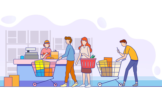 Customers Stand in Line at Supermarket or Department Store with Goods in Shopping Trolley on Cashier Desk for Paying. Purchases and Queue at the Cashier, Queue in Store, Cartoon Flat Vector Illustrat