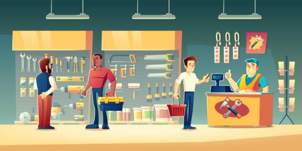 Kunden-Werkzeugladen, Hardware-Bauwerkstatt – Vektorgrafik