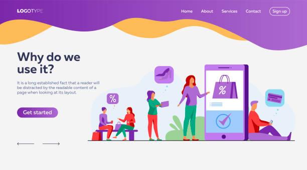 ilustrações de stock, clip art, desenhos animados e ícones de customers with smartphones shopping online - online shopping