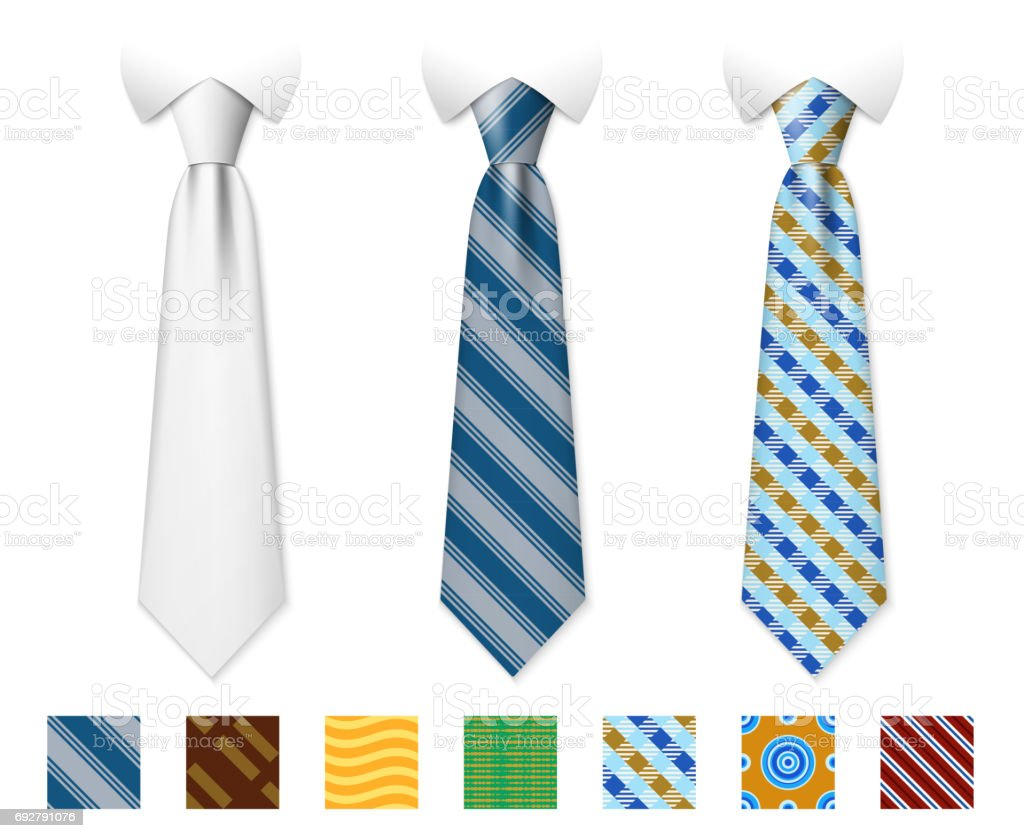 Customizable neckties vector templates with seamless textures set vector art illustration