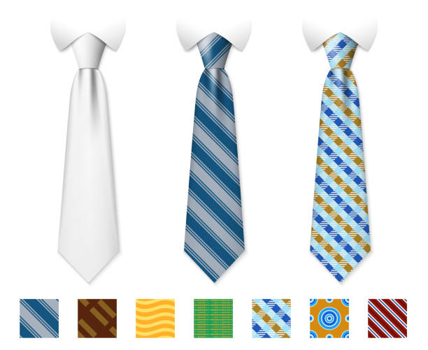 customizable neckties vector templates with seamless textures set - tie stock illustrations, clip art, cartoons, & icons