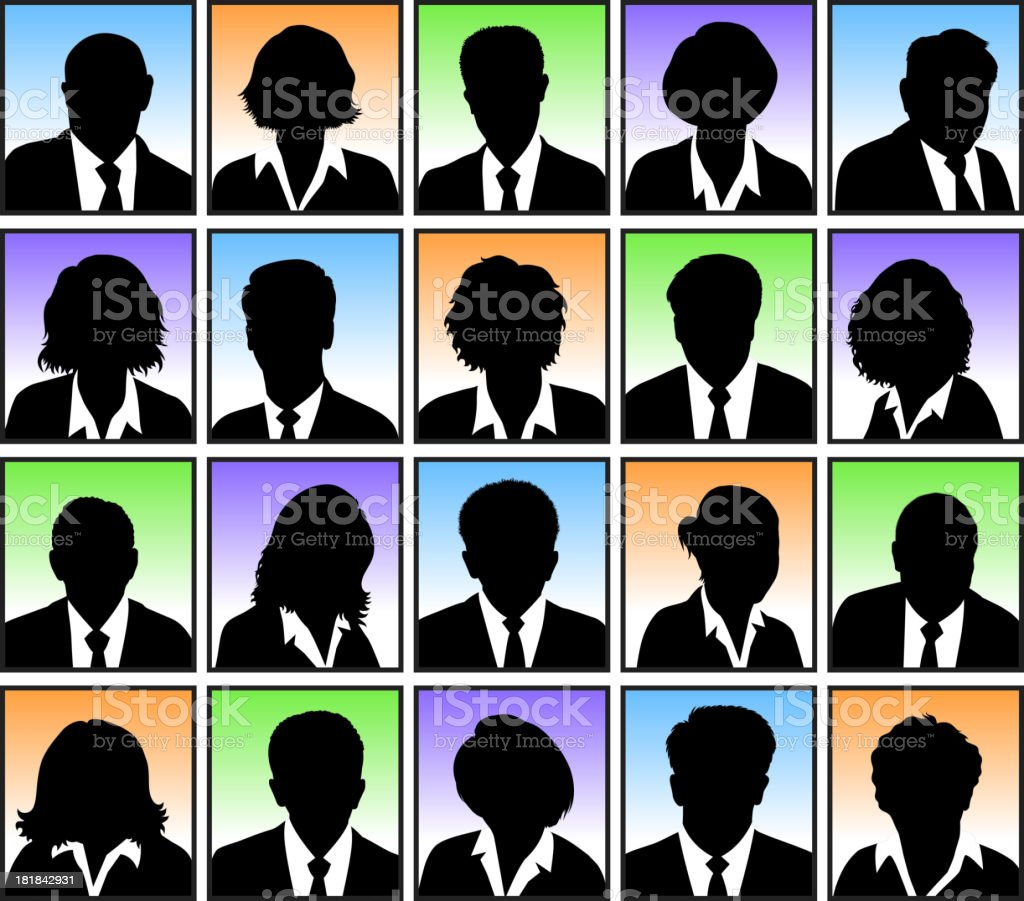 Customized Faces with Hairstyles black & white vector icon set vector art illustration