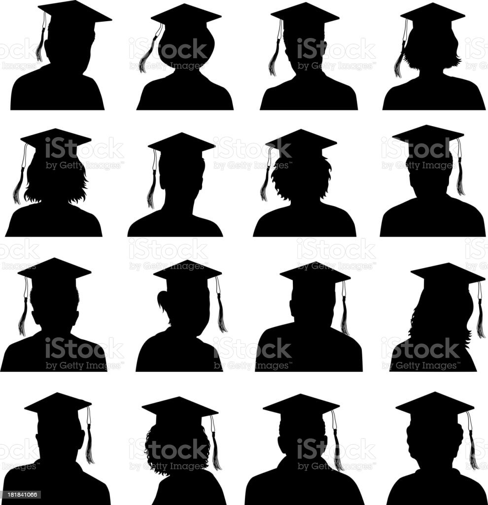 Customized Profile of Faces Graduation Concept black & white icons royalty-free stock vector art