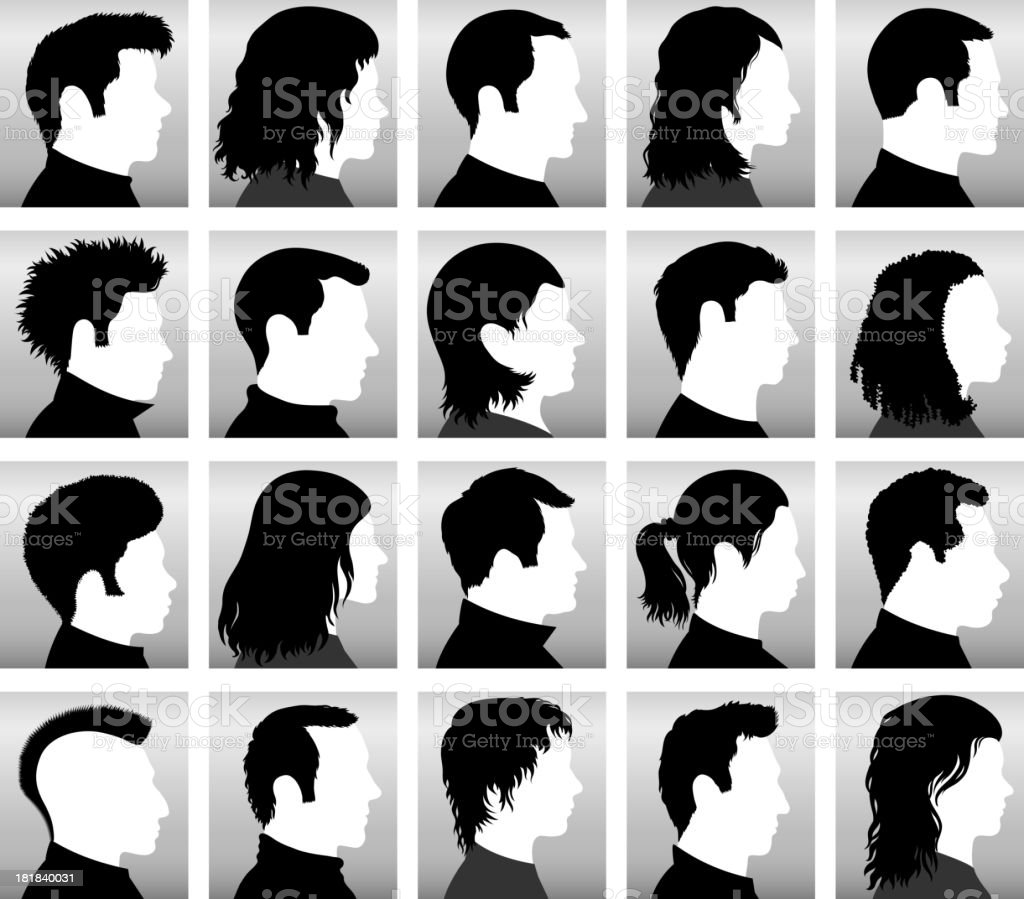 Customized Profile of Faces with Hairstyles black & white icons vector art illustration