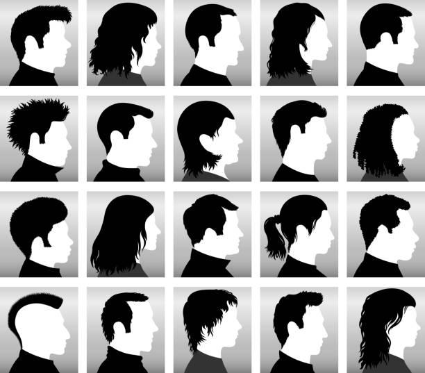 stockillustraties, clipart, cartoons en iconen met customized profile of faces with hairstyles black & white icons - kaal geschoren hoofd