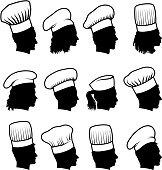 A customized silhouette faces of chefs concept set
