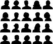Customized Silhouette Human Faces black & white set