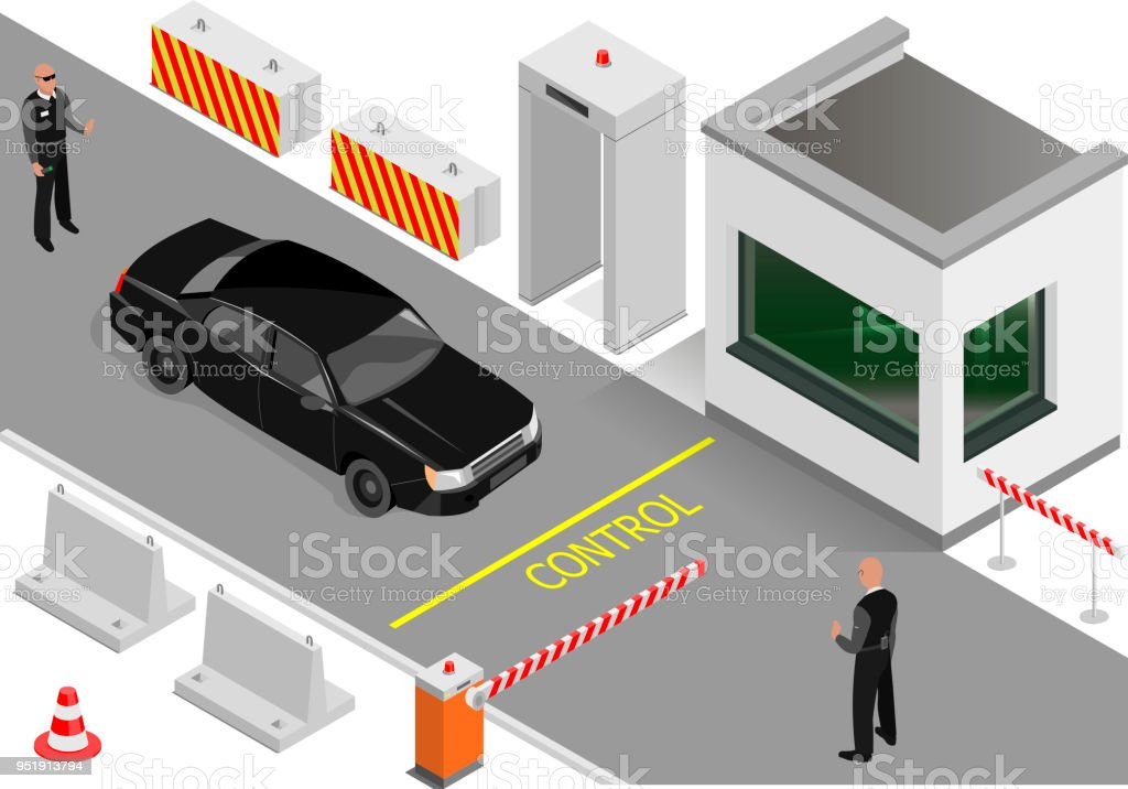Customs clearance area with security vector art illustration