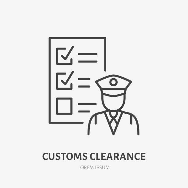 Customs clearance flat line icon. Policeman inspecting luggage sign. Thin linear logo for cargo trucking, freight services Customs clearance flat line icon. Policeman inspecting luggage sign. Thin linear logo for cargo trucking, freight services. customs official stock illustrations
