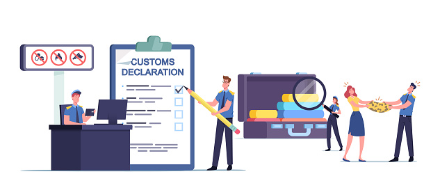 Customs Officer Characters Filling Customs Declaration and Check Passenger or Tourist Baggage Confiscate Illegal Things