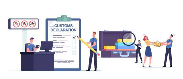 Customs Officer Characters Filling Customs Declaration and Check Passenger or Tourist Baggage Confiscate Illegal Things Tiny Customs Officer Characters Filling Customs Declaration and Check Passenger or Tourist Baggage Confiscate Illegal Freight and Forbidden Things, Airport Security. Cartoon People Vector Illustration airport borders stock illustrations