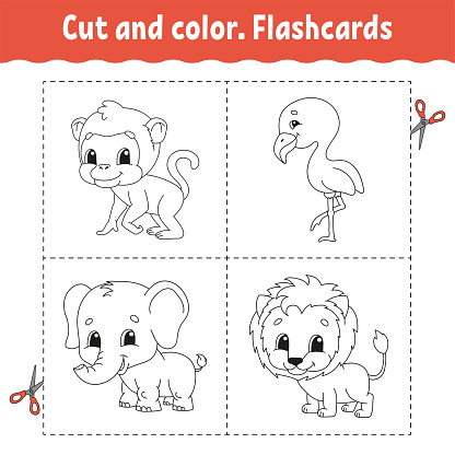 Cut and color. Flashcard Set. flamingo, lion, monkey, elephant. Coloring book for kids. Cartoon character. Cute animal.