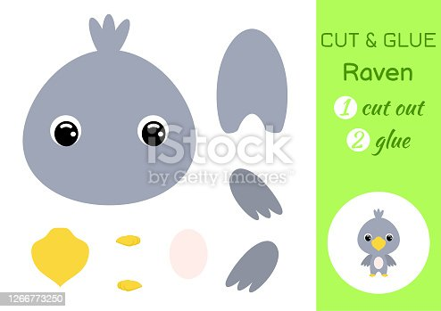 istock Cut and glue baby raven. Education developing worksheet. Color paper game for preschool children. Cut parts of image and glue on paper. Cartoon character. Colorful vector stock illustration. 1266773250