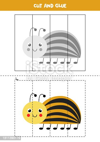 istock Cut and glue game for kids. Cute Colorado beetle. 1311390179
