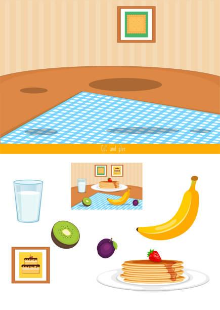 schnitt-und klebespiel - pflaumenkuchen stock-grafiken, -clipart, -cartoons und -symbole