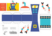 Cut and glue robot toy vector illustration, worksheet. Paper craft and small pieces riddle with funny robotic character for kindergarten kids. Modelling activity for children