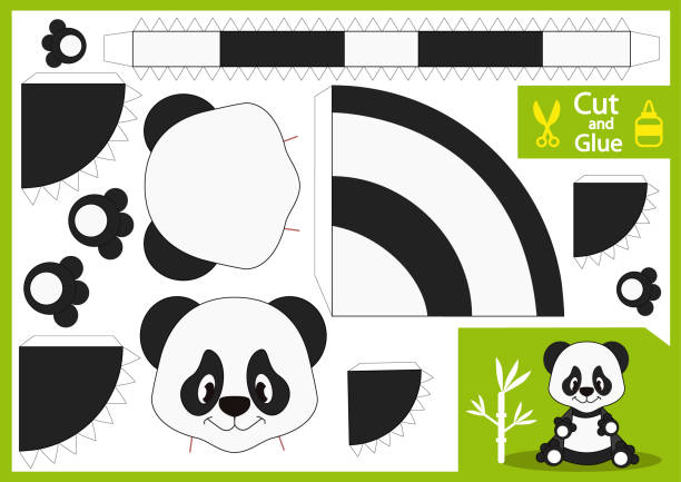 Cut and glue the paper panda. Paper toys spaceship yourself. Children funny riddle entertainment and amusement. Puppet show. Kids art game and activities jigsaw. Handmade toy. Vector illustration. vector art illustration