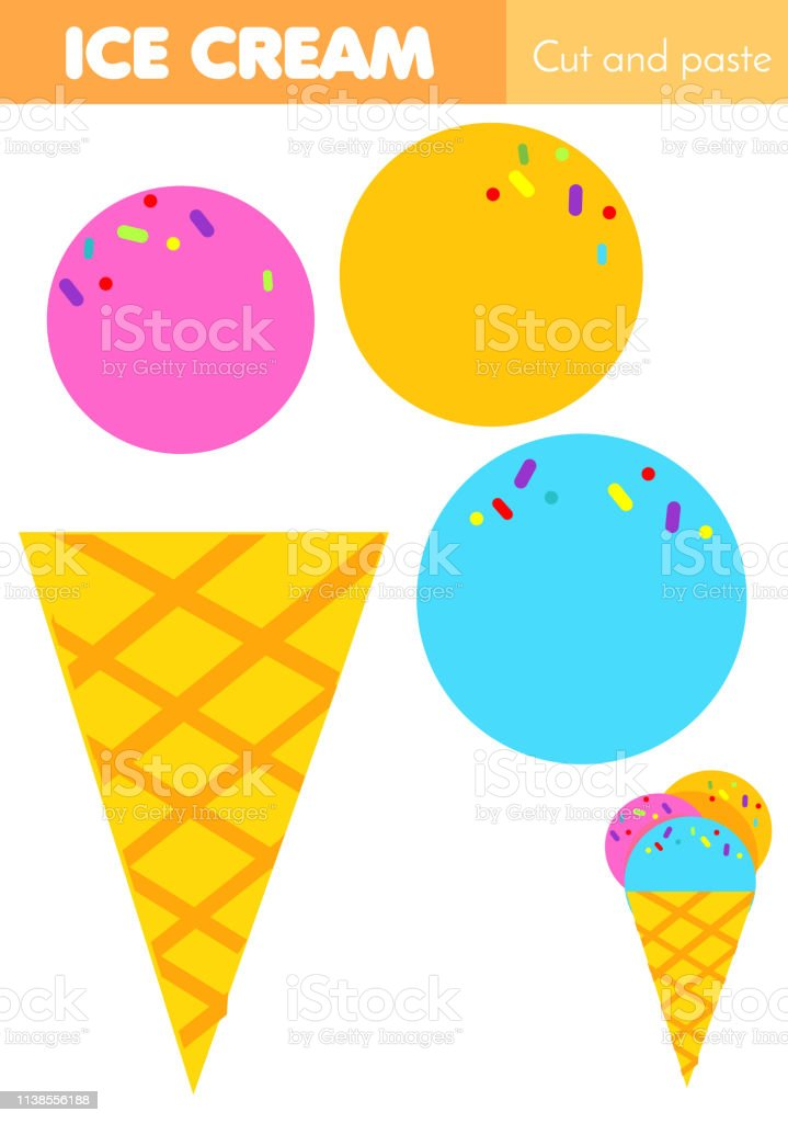 diy cut and paste children educational game paper cutting activity make ice cream with glue and. Black Bedroom Furniture Sets. Home Design Ideas