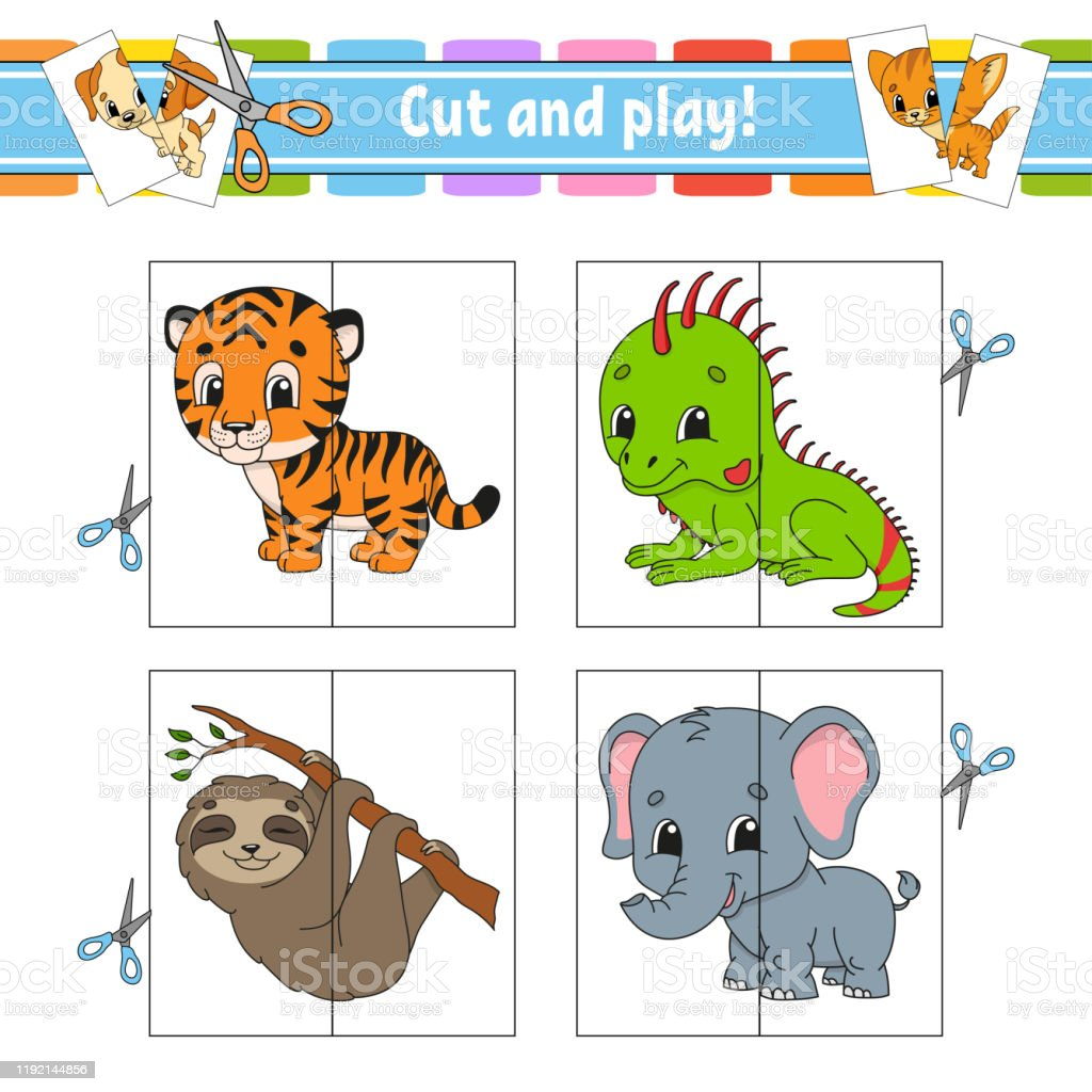 cut and play flash cards color puzzle education developing worksheet vector id