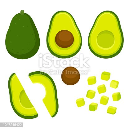 Avocado cutting vector set. Whole avocado, halved and pitted, and cubed for salad. Cartoon style cooking illustration.