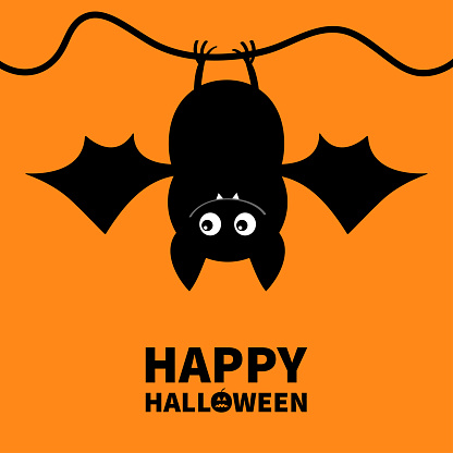 Cut bat. Happy Halloween. Hanging animal. Cartoon kawaii funny baby charater. Greeting card. Flat design. Orange background. Isolated. Vector illustration.