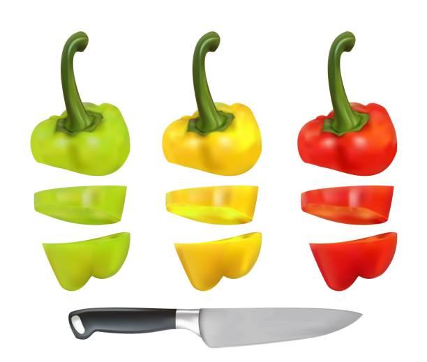 ilustrações de stock, clip art, desenhos animados e ícones de cut bulgarian pepper - red bell pepper isolated