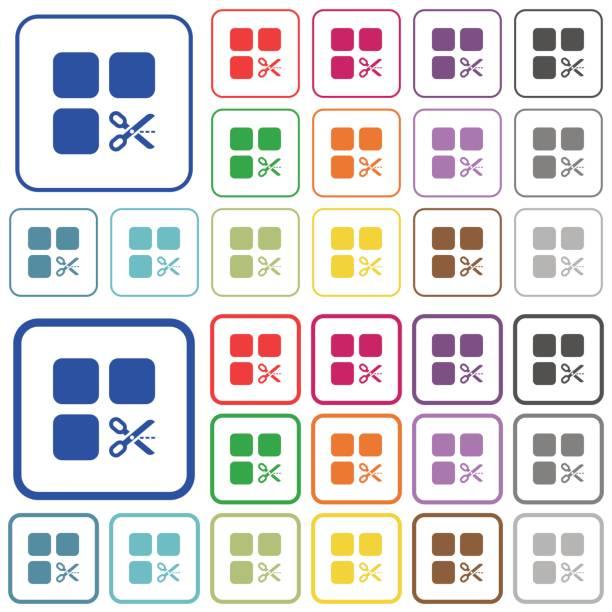 Componente de corte indica los iconos de color plano - ilustración de arte vectorial