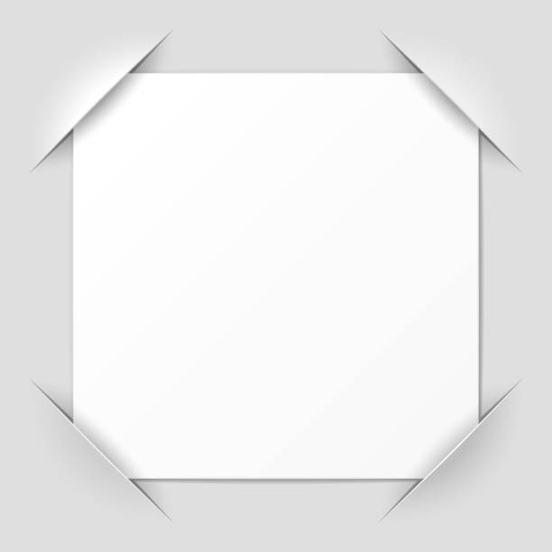 A cut corner design photo frame Photo frame corners vector illustration with transparent effect. Eps10. photo album stock illustrations