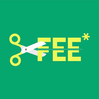 Cut fee by scissors.
