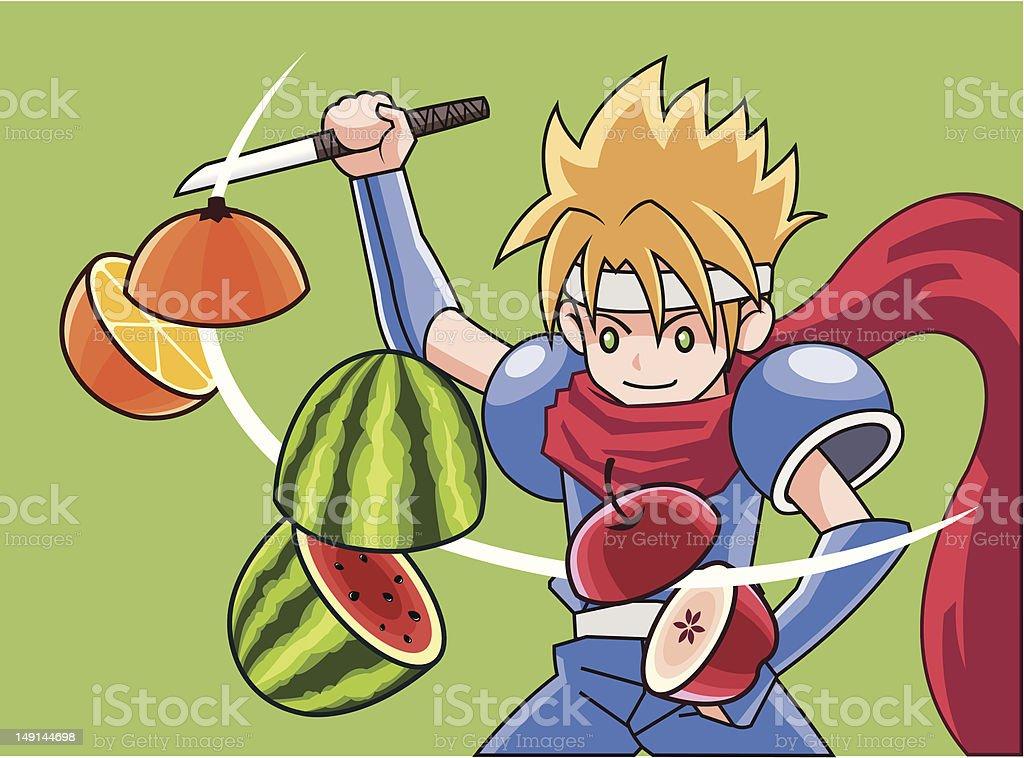 cut fruit vector art illustration